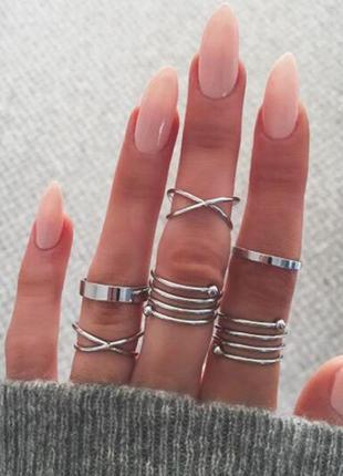 Набор колец на пальцы и фаланги золотые завитки 6 штук серебристые