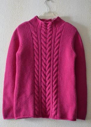 Тёплый шерстяной свитер с косами р.s-m 70%мериносовая шерсть 30%кашемир gc fontana