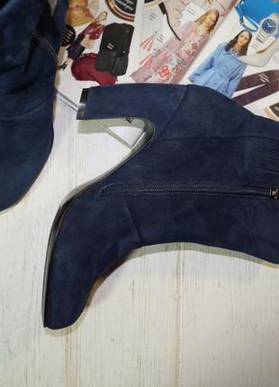 5th avenue. замша. стильные ботинки на изогнутом каблуке5 фото