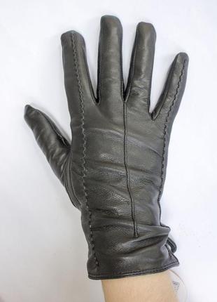 Женские кожаные перчатки  мех
