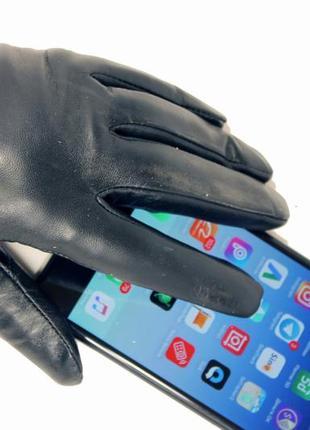 Женские кожаные сенсорные перчатки мех