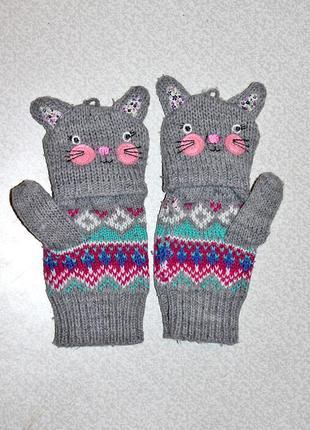 Милые и уютные перчатки/митенки/варежки john lewis размер s на девочку 9-10 лет