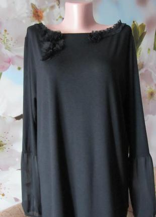 Черная футболка-блуза(пог55см,поб55см)