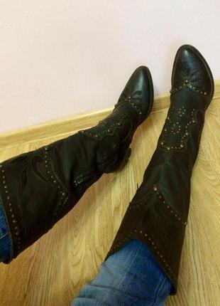 Итальянские кожаные высокие сапоги,сапожки на каблуке+подарок шарф h&m
