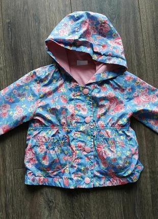 Стильная курточка ветровка на девочку 9-12 месяцев f&f плащ куртка