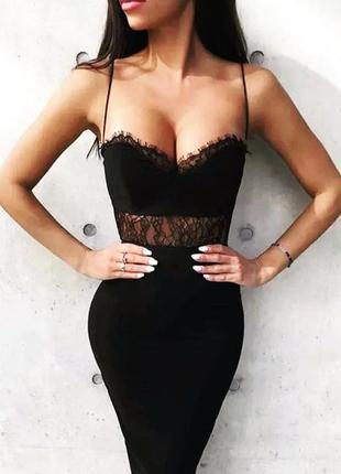Шикарное сексуальное бандажное платье футляр черное миди с кружевом кружевное herve leger