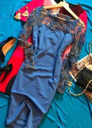 Элегантное платье голубого цвета с вышивкой city goddess