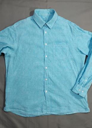 Брендовая льняная мужская рубашка marks&spencer