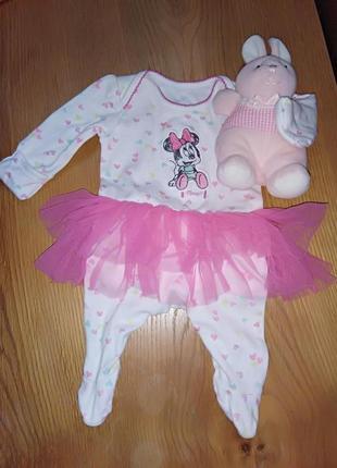 Новорожденной малышке) нарядный человечек с фатиновой юбочкой disney baby at george