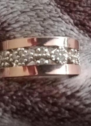 Серебряное кольцо с золотом на мизинец, р. 14,5