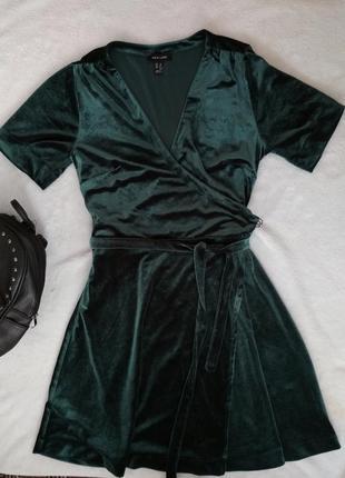 Стильное бархатное платье new look на запах,халат велюровое изумрудного цвета