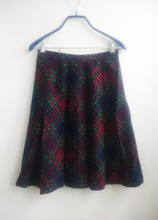 Ручная работа сделано во франции шикарная юбка шерсть в клетку клетчатая в складку плиссе