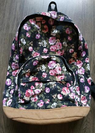 Рюкзак тканевый, цветочный принт