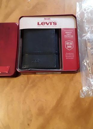 Брендовий гаманець портмоне levis, оригінал із сша, новий в коробці, натуральна шкіра.