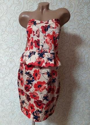 Акция нарядное платье бюстье футляр с баской uk 14 наш 48 смотрите замеры