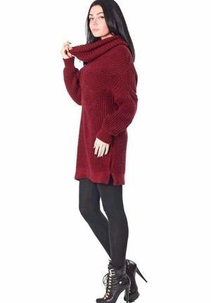 Туника-свитер вязаный,шерсть,теплое платье с воротом хомут