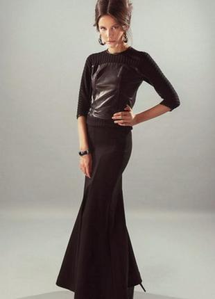 Шикарная черная длинная вечерняя юбка годе