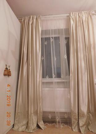 Шторы с вышивкой для спальни или гостиной