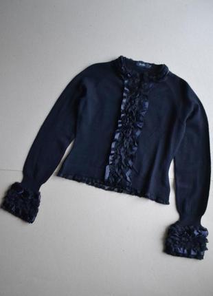 Красивый шерстяной кардиган на крючках кофта с рюшами нюанс р.xs-s 100%шерсть mark