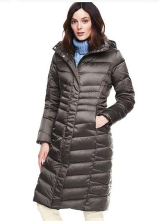Длинное пальто пуховик, зима lands' end (размер m petite)