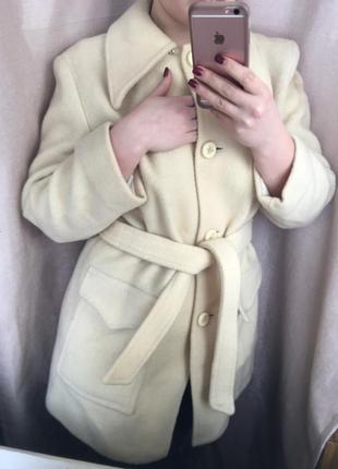 Бежевое пальто,100% шерсть!