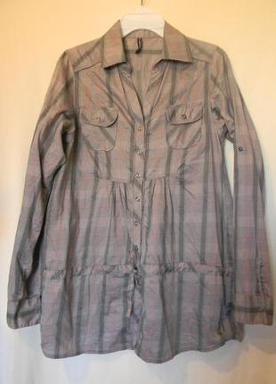 Актуальная рубашка блузка в клетку от fishbone р.м