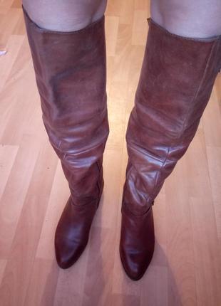 Сапоги ботфорты зимние кожаные aldo