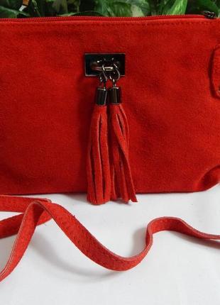 Итальянская кожаная сумочка через плечо*красная