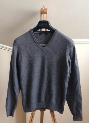 Отличный мужской джемпер m приятного серого цвета hacket merino cashmere made in italy