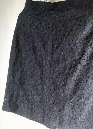 🍀классная кружевная ажурная чёрная миди юбка