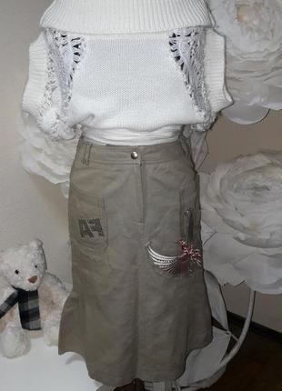Котоновая юбка с вышивкой в стразах сватовски