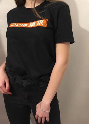 Хайповая футболка с иероглифами tokyo nike adidas kappa japan