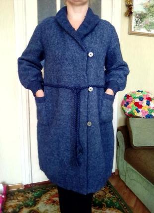Французский теплый халат - одеяло как валяное пальто, шерсть ламы 80%, есть  в клетку