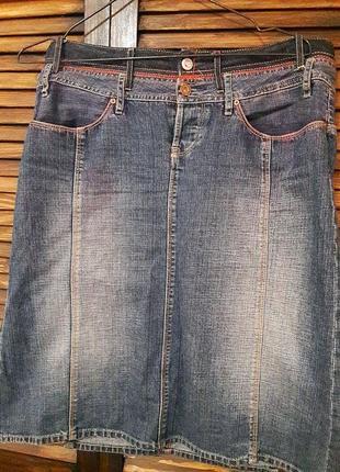 Джинсовая юбка по колено# pepe jeans