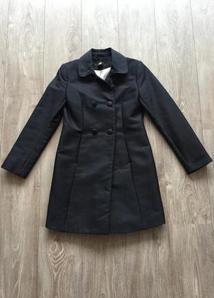 Лёгкое весеннее синее классическое пальто h&m, 36 размер