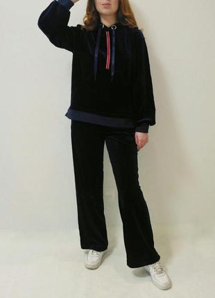 Костюм спортивный/прогулочный велюровый костюм темно-синего цветаyuka paris, франция