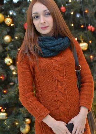 Теплое платье-туника из мягкой и комфортной пряжи, р. м
