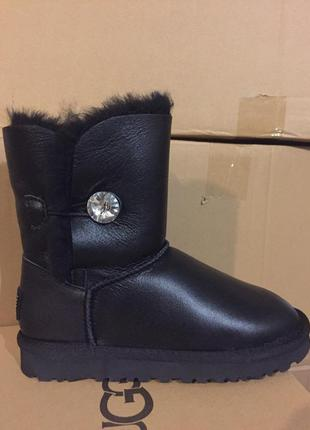 Женские угги ugg bailey button boot leather bling black р.36-404