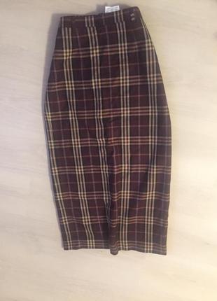 Классная шерстяная юбка в клетку длинное миди размер 10-12 м л