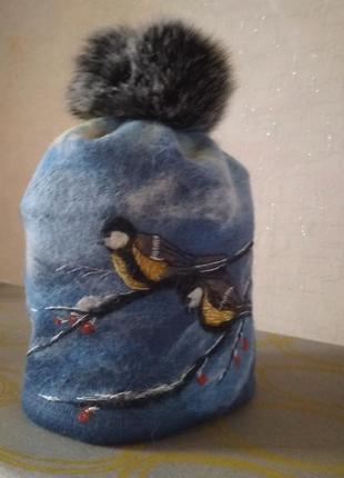 Трикотажная двойная шапка бини.
