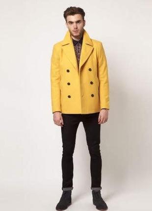 Двубортное шерстяное пальто asos