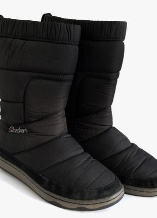 Черные сапоги дутики skechers