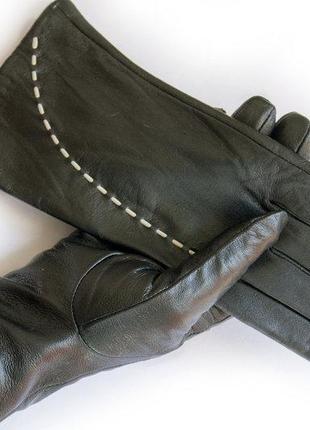 Женские кожаные сенсорные перчатки на меху .