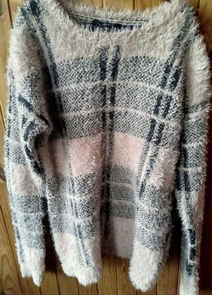 Очень теплый мягкий пушистый свитер травка зимний клетчатый в клетку свитерок