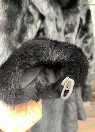 Норковая шуба полушубок чёрная с капюшоном
