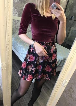 Бархатная юбка в цветы