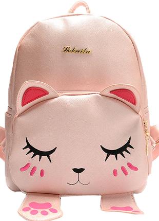 Рюкзак розовый однотонный кожаный с ушками мордочкой лапками котика вместительный