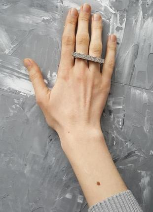 Кольцо серебряное на два пальца кристаллы стразы новое размер регулируется