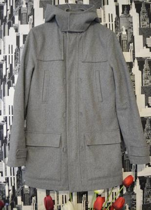 Женское шерстяное пальто с подкладкой и капюшоном