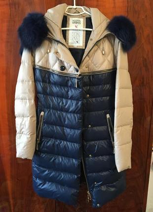 Шикарное женское зимнее пальто, наполнитель пух, мех натуральный. турция.